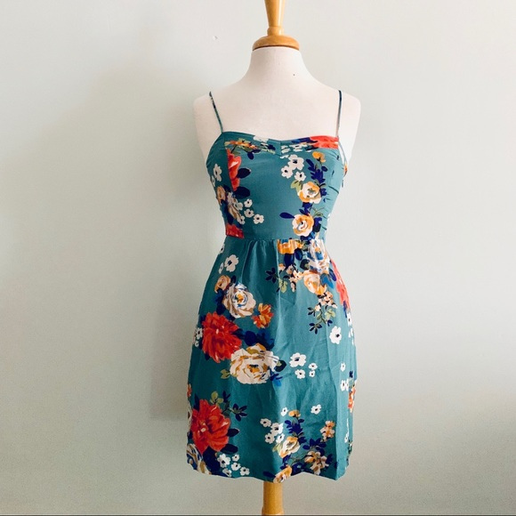 Anthropologie Dresses & Skirts - Anthropologie Blue Silk Floral Dress Sz 2
